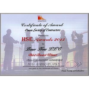 10_Oman Society of Contractors - HSE Award 2013